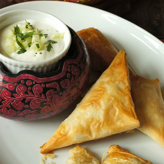Spicy Chickpea Samosas with Raita | food. | Pinterest