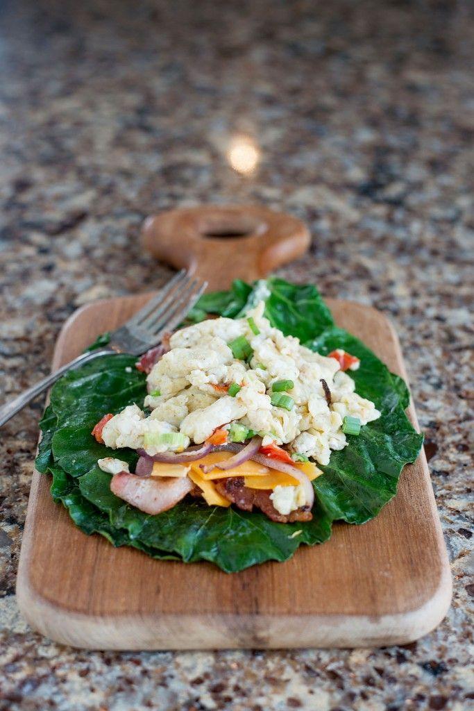 Collard Green Scrambled Egg Wrap   bsinthekitchen.com #breakfast # ...