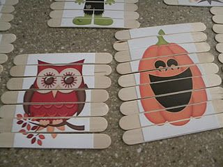 popsicle stick puzzles. So clever!  Doesn't have to be Halloween