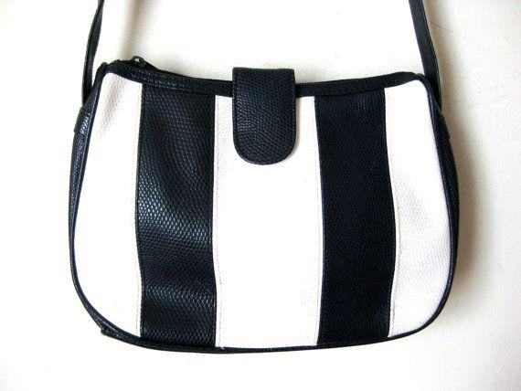 Striped Mod Purse, Navy Blue and White Shoulder Bag
