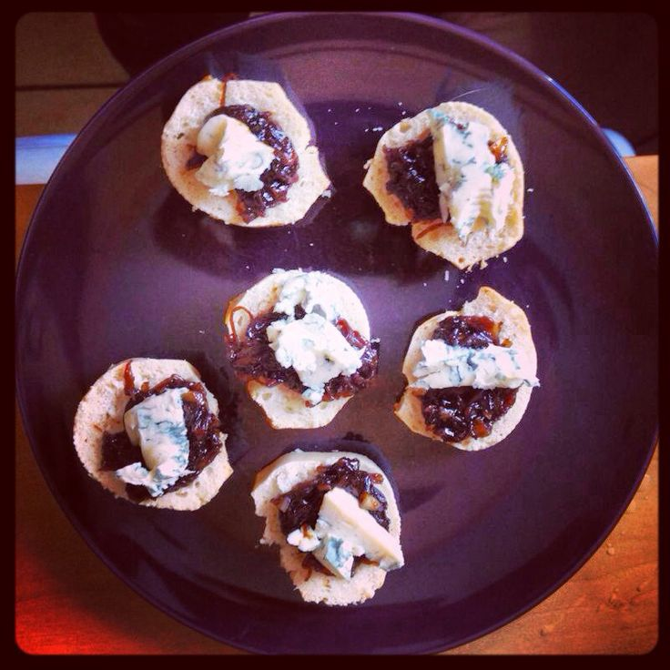 ... onion marmalade served on French bread topped with blue cheese