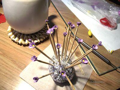 Cercei floare cu bile Cured polimer zgura - Targul de masterat - manual, manual