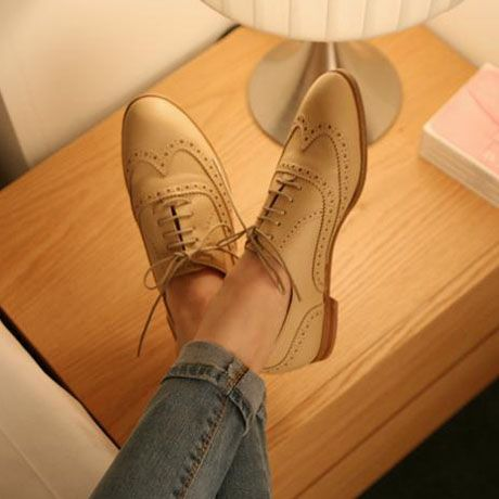 Sweet English Style Lace Up Pattern PU Apricot Flats | martofchina.com-Page Cached
