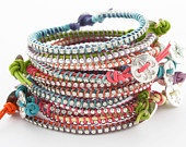 LEATHER AND RHINESTONE BRACELET WITH HANDMADE FINE SILVER BUTTON, COLORFUL AND PERFECT FOR STACKING