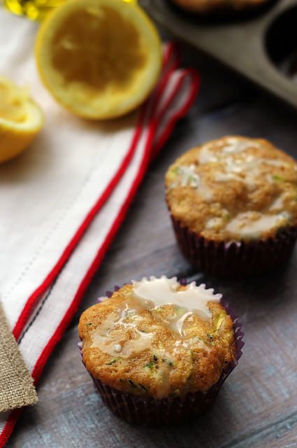 Spiced Zucchini Muffins with Lemon Glaze