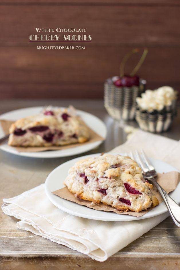 White Chocolate Cherry Scones - tender scones with slightly crisp ...
