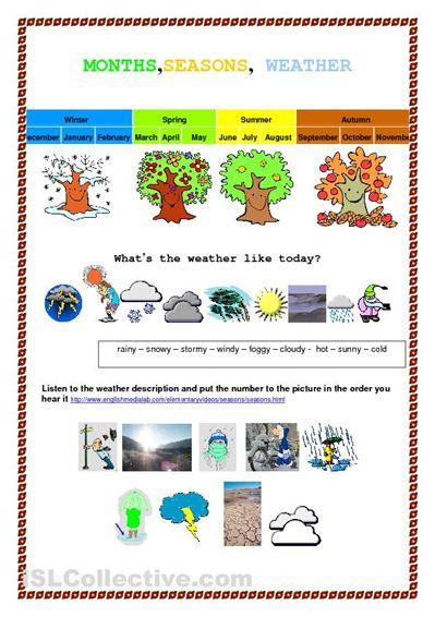 Month seasons weather worksheet free esl printable worksheets made