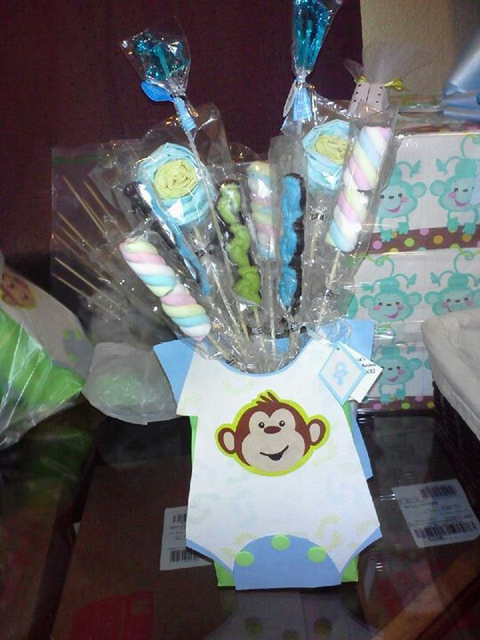 homemade monkey centerpiece for baby shower party decorations on a