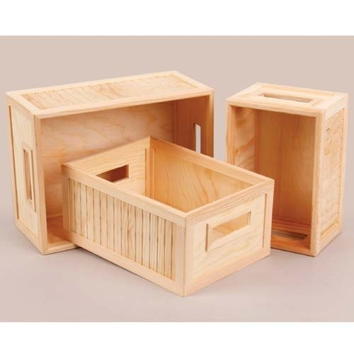Wooden crates for crafts the image kid for Craft crates