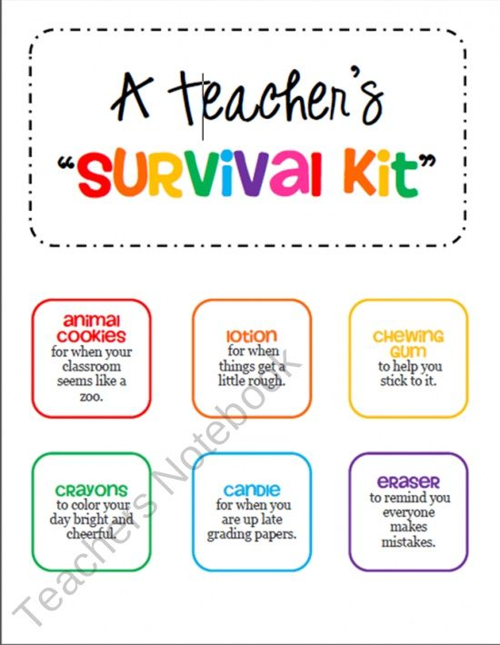pinterest student gift ideas | Teacher Survival Kit Tags - Gift for a ...