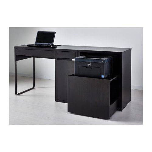Micke Desk With Printer Storage Black Brown