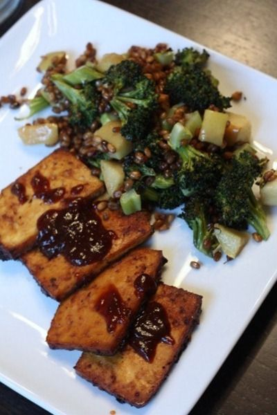 ... , apple, wheatberry salad, with marinated baked tofu & bbq sauce