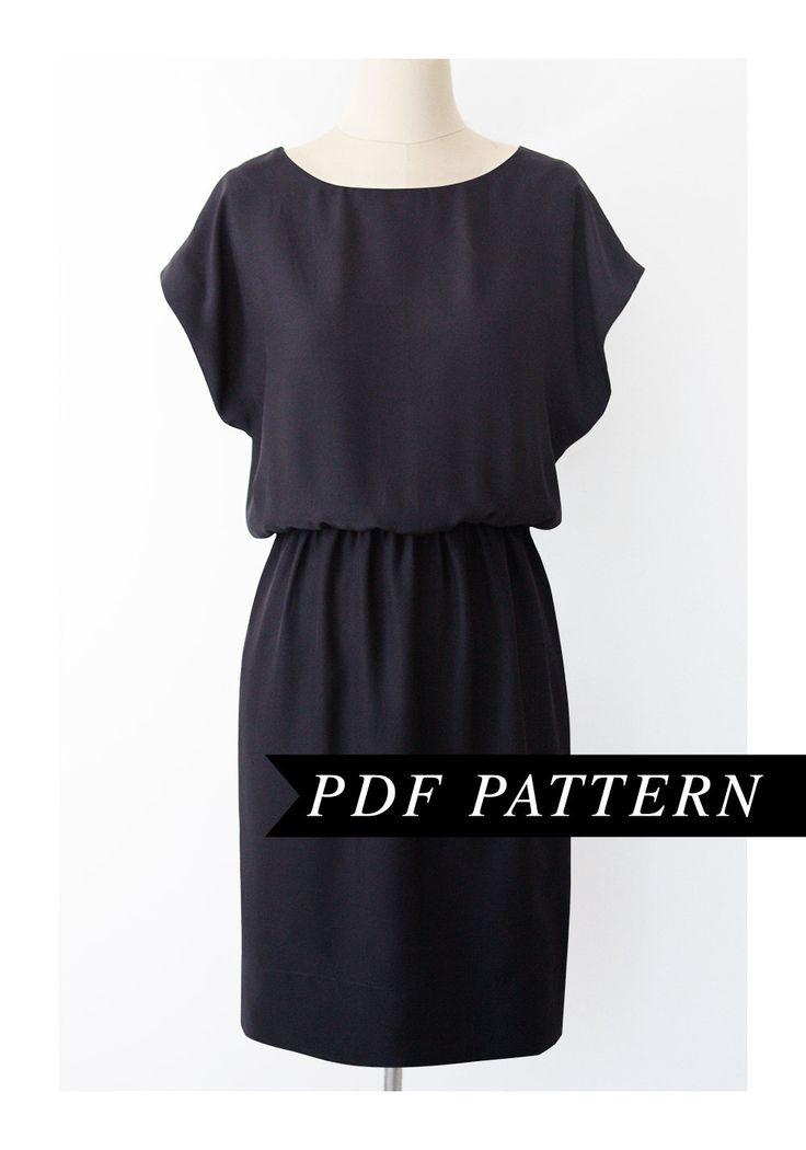 Easy short sleeved dress pattern elastic waist short for Easy to make t shirt dress