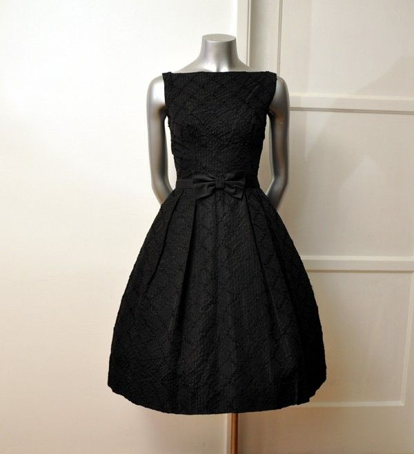Vintage 50 s Black Bow Ribbons Cocktail Party Full Skirt Dress  EtsyVintage Chanel Cocktail Dresses