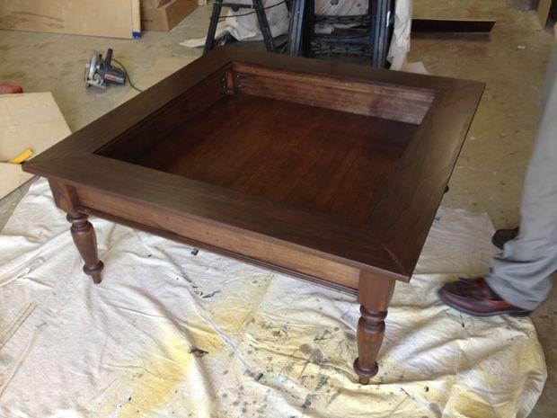 Diy shadow box coffee table for Shadow box coffee table diy