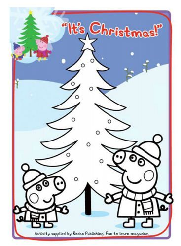 Get in the christmas spirit with this peppa pig coloring for Peppa pig coloring pages christmas