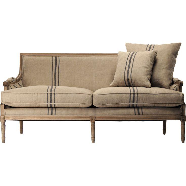 European Design Blue Striped Linen Sofa
