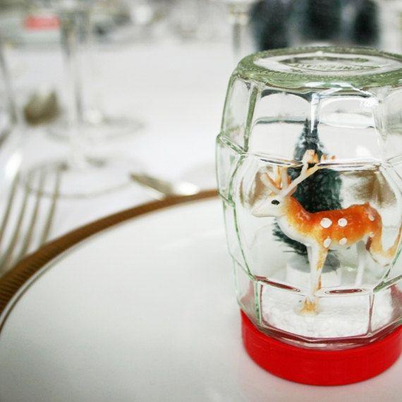 Cute idea!  -  Vintage style handmade diorama snow globe.