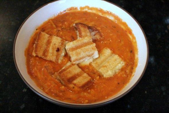 Ina Garten's Easy Tomato Soup with Grilled Cheese Croutons.