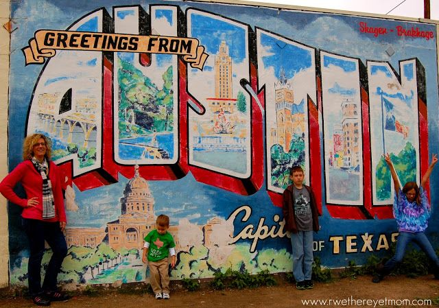 Greetings from austin mural gray house pinterest for Austin postcard mural
