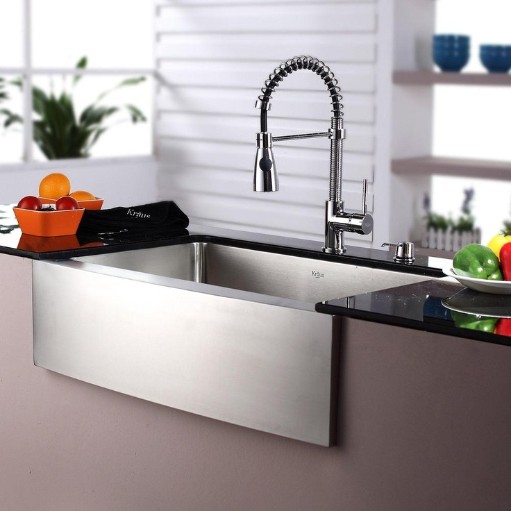 Farmhouse Sink With Faucet : Kraus Stainless Steel Farmhouse Kitchen Sink, Chrome Faucet/ Dispenser ...