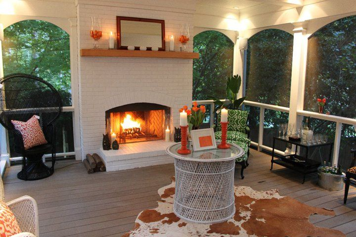 Fireplace On Porch Screened Porch Pinterest
