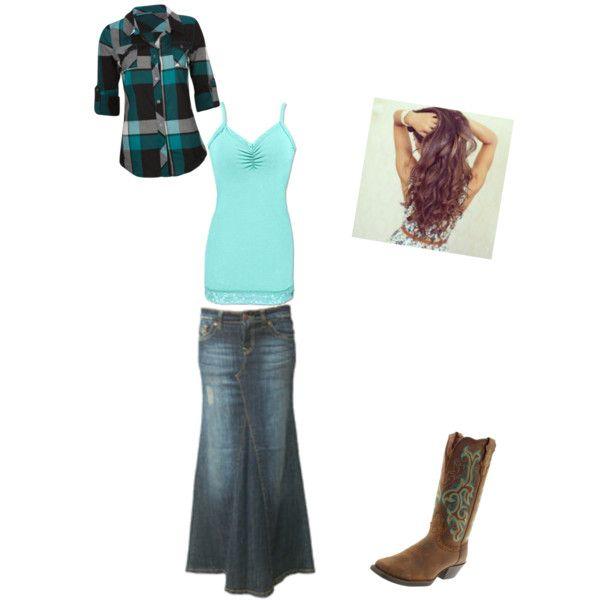 denim skirt and cowboy boots