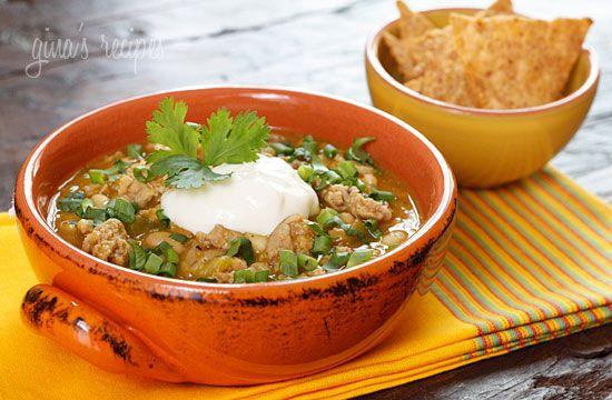 Crock Pot Turkey White Bean Pumpkin Chili - A perfect fall chili made with pumpkin puree, ground turkey, white beans, green chili and spices.