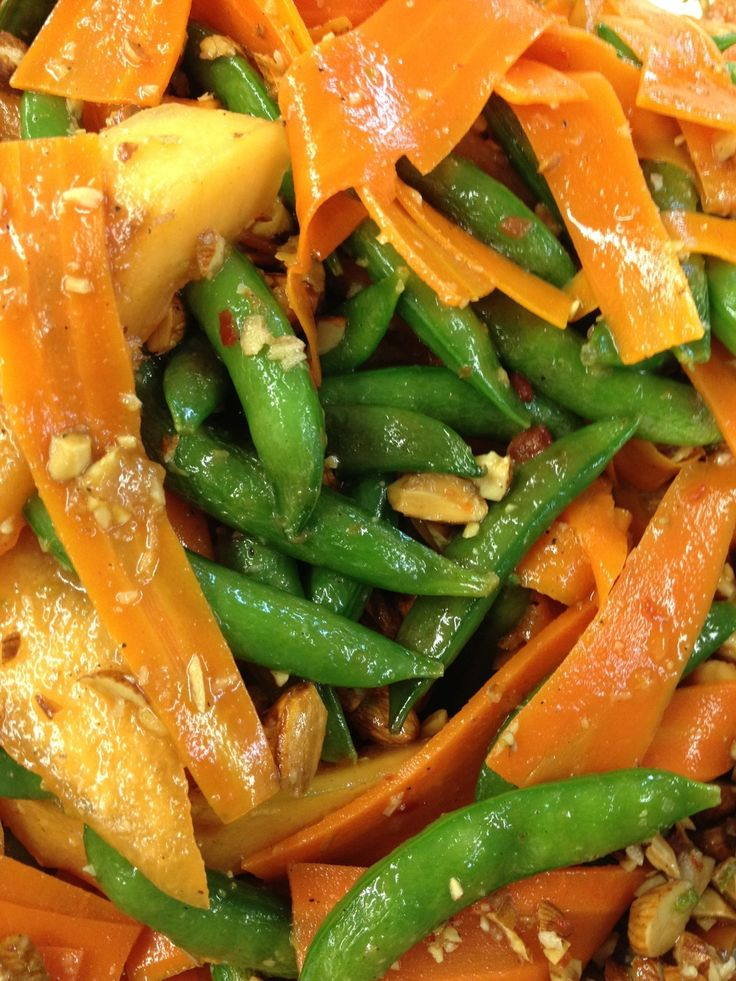 """Shaved carrot """"noodles"""", snap peas, toasted almond salad"""