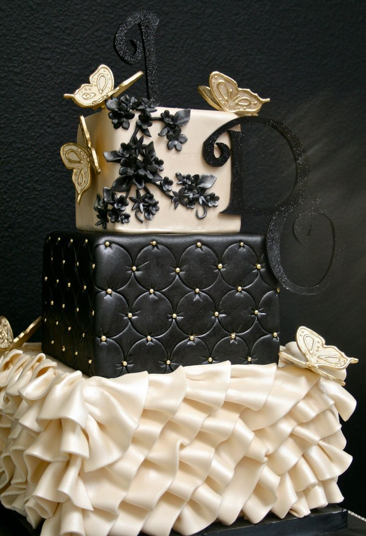 "Ruffles, butterflies and ""I Do"" champagne and black wedding cake by Gimme Some Sugar Las Vegas"
