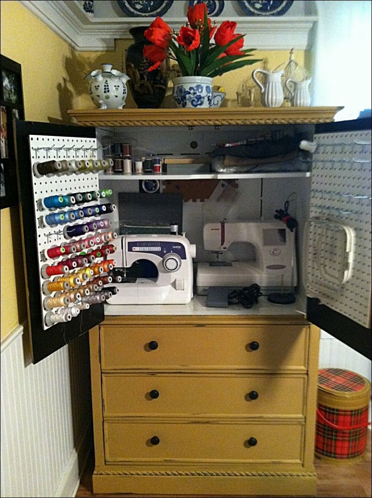 armoire turned sewing cabinet. Black Bedroom Furniture Sets. Home Design Ideas