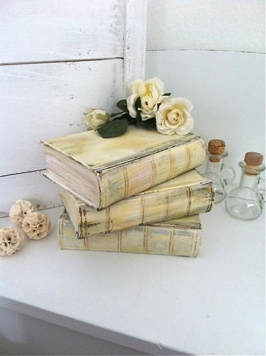 vintage shabby - is this a painted book? suhweet idea!