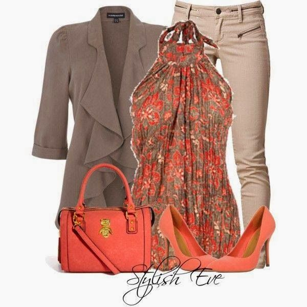 Brown Jacket, Pumps, Colorfull Dress and Orange Handbag