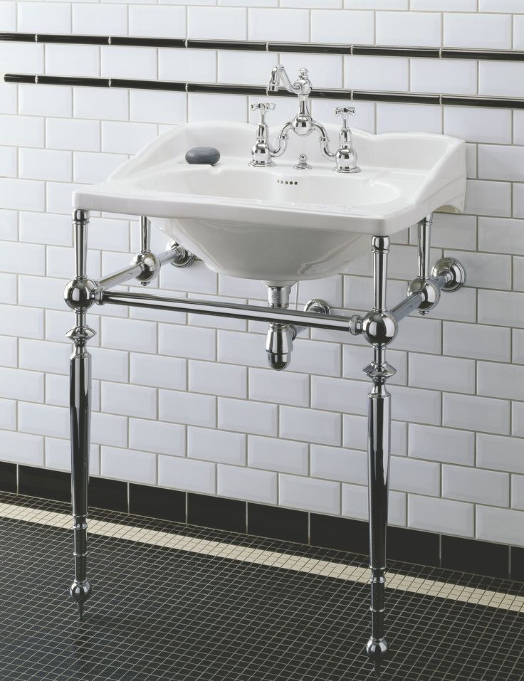 Empire basin + Polished Nickel metal washstand