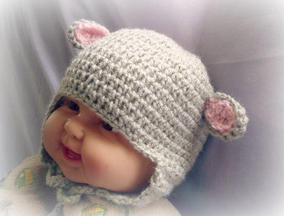 Crochet baby hat pattern, animal hat pattern, little lamb ...