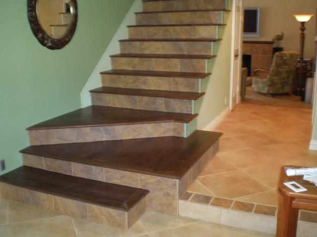 Tile wood stairs diy projects pinterest - Stairs with tile and wood ...