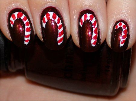Candy cane nails nail art tutorial so totally nailed it pinterest