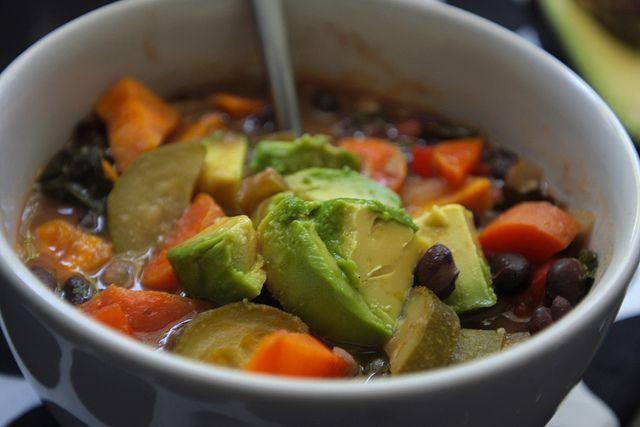 HEARTY BLACK BEAN & SWEET POTATO (and lots-o-veggies) SOUP
