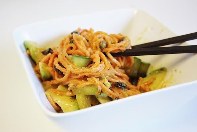 yam noodles with miso mustard sauce, avocado, cucumber & raisins