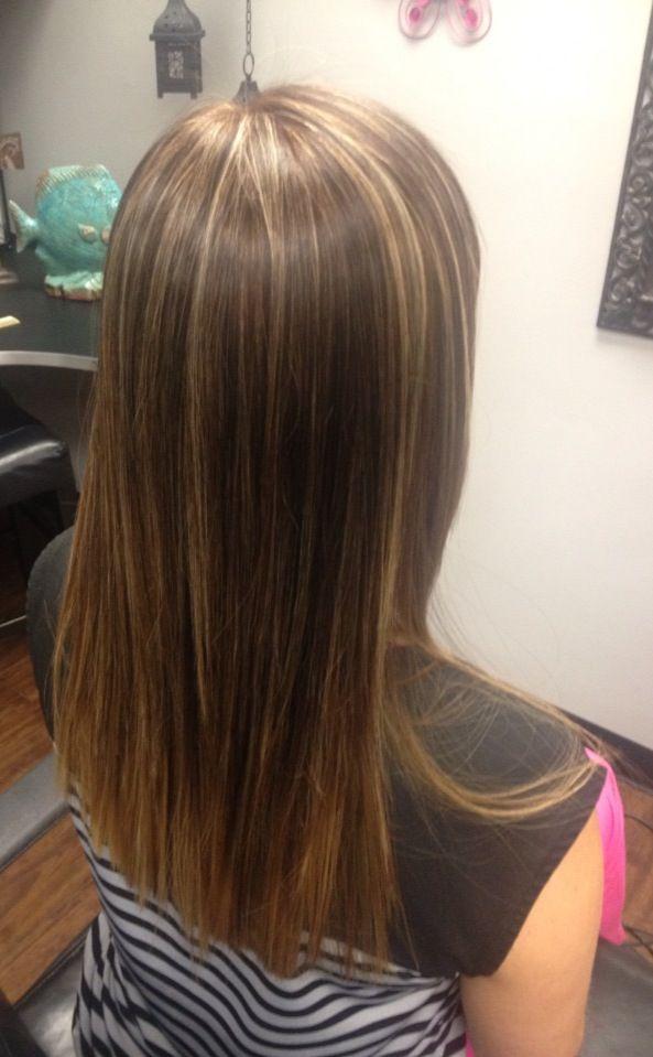 Dark Straight Hair With Caramel Highlights Love my new hair #caramel