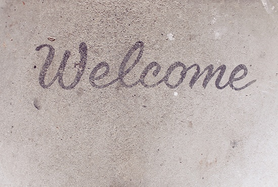 """concrete Welcome """"mat"""" - what a great idea!"""