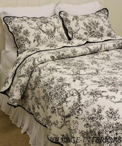 Floral toile de jouy black amp white french country king