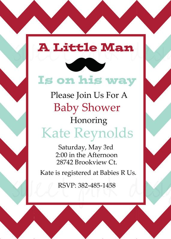 Little Man Mustache Bash Baby Shower Invitation