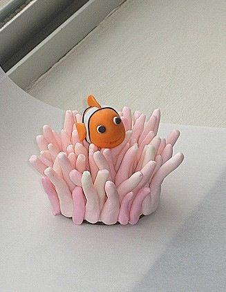 3D Nemo cupcake sitting in pink anemone