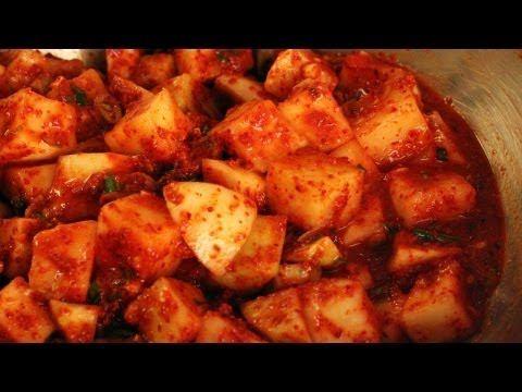 Cubed radish kimchi (kkakdugi: 깍두기) | Korean Food | Pinterest