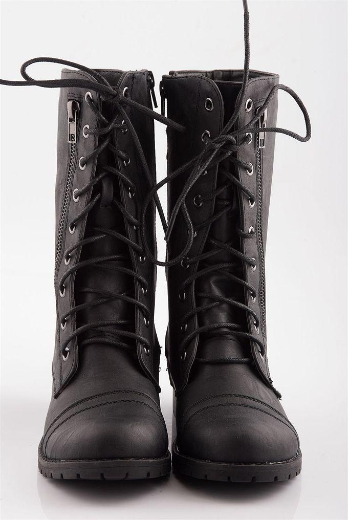 Complex closures back buckle lace up combat boots black