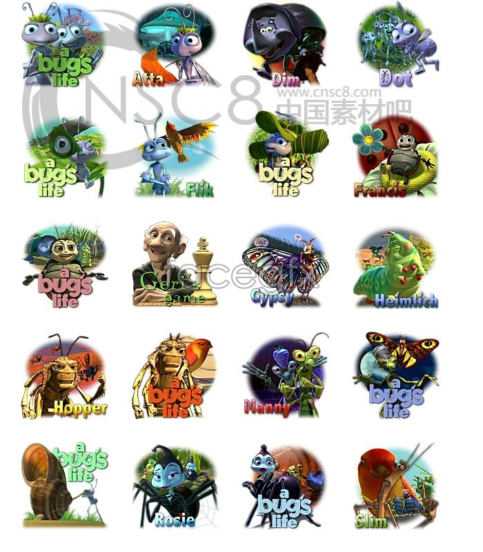 bug's life cast icons | Icon | Pinterest