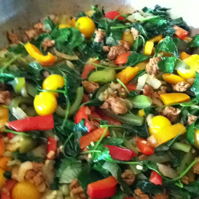 Peppers,onion,kale, sausage, garlic, tomatoes, with a little grass fed ...