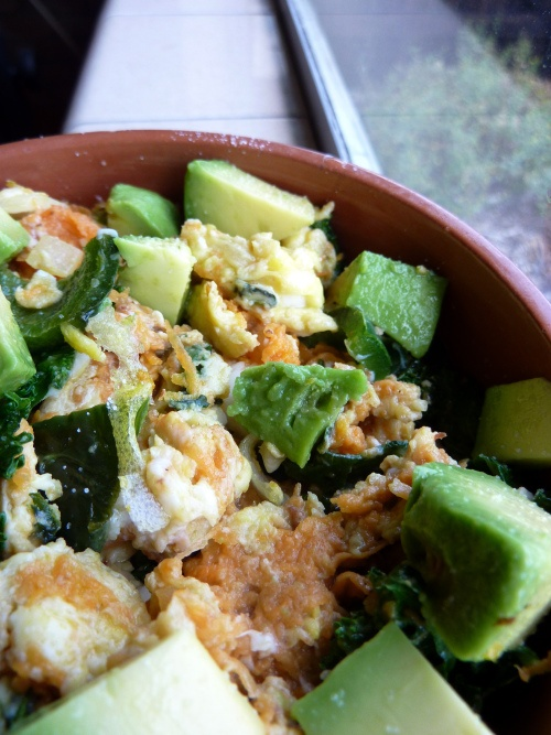 Sweet potato, kale, and egg hash with salted avocado with Bacon