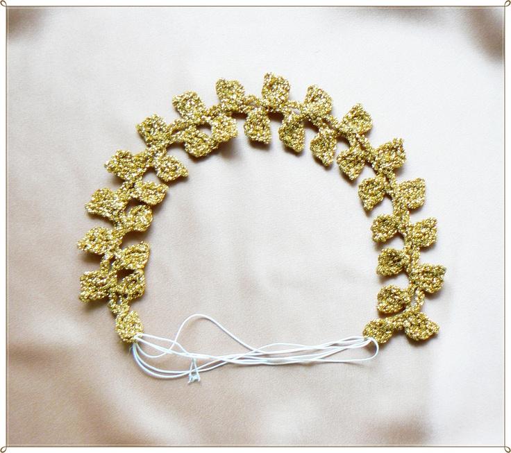 Crochet Hair Bands : Gold crochet hair band Crochet Pinterest